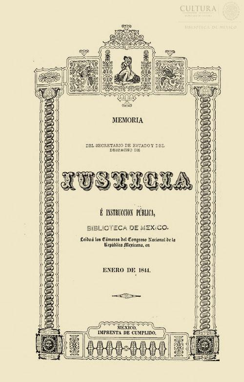 Imagen de Memoria de la secretaría de estado y del despacho de justicia e instrucción pública, leída a las cámaras de Congreso Nacional de la República Mexicana en 1844 Manuel Baranda
