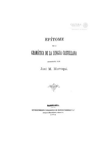 Imagen de Epitome de la gramatica de la lengua castellana