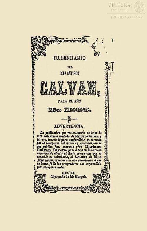Imagen de Calendario de Mariano Galván Rivera, para el año de 1866 arreglado al meridiano de Mégico
