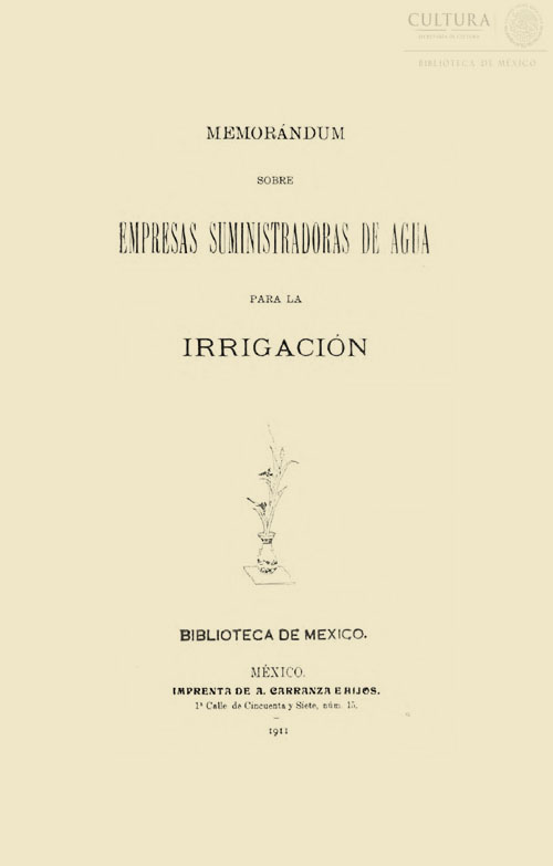 Imagen de Memorándum sobre empresas suministradoras de agua para la irrigación
