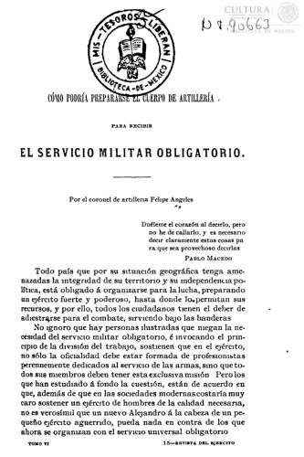 Imagen de Como podria prepararse el cuerpo de artilleria para recibir el servicio militar obligatorio