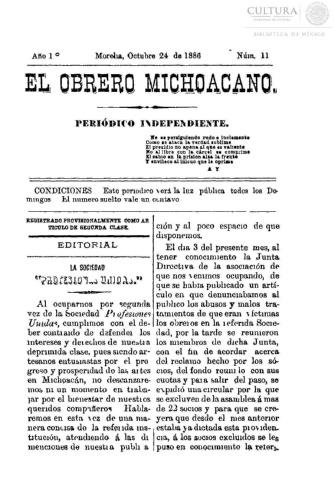 Imagen de El obrero michoacano. Periódico independiente, número 11