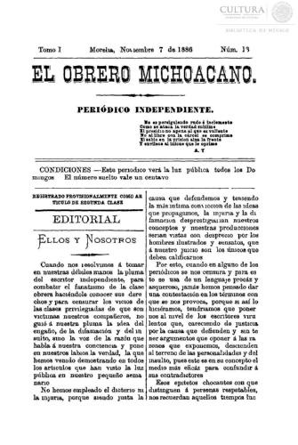 Imagen de El obrero michoacano. Periódico independiente, número 13