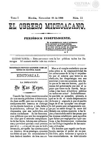 Imagen de El obrero michoacano. Periódico independiente, número 15
