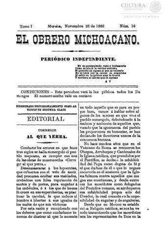 Imagen de El obrero michoacano. Periódico independiente, número 16