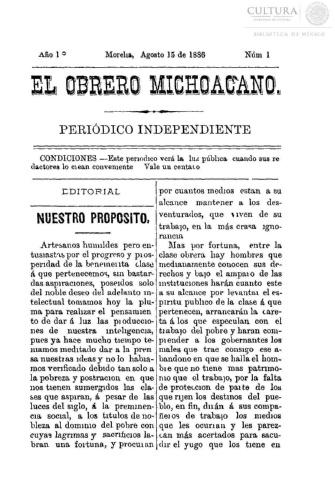 Imagen de El obrero michoacano. Periódico independiente, número 1