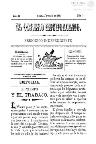 Imagen de El obrero michoacano. Periódico independiente, número 20