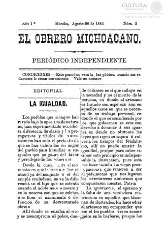 Imagen de El obrero michoacano. Periódico independiente, número 2
