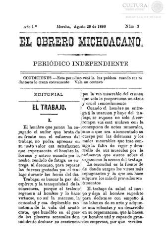 Imagen de El obrero michoacano. Periódico independiente, número 3