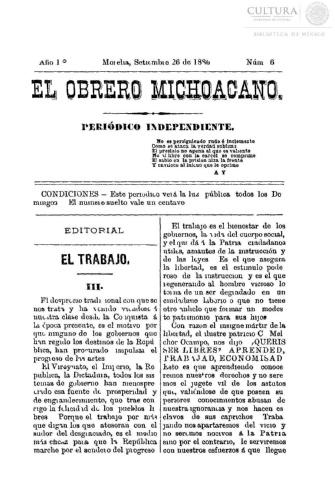 Imagen de El obrero michoacano. Periódico independiente, número 6