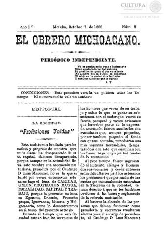 Imagen de El obrero michoacano. Periódico independiente, número 8