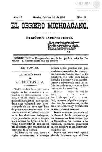 Imagen de El obrero michoacano. Periódico independiente, número 9
