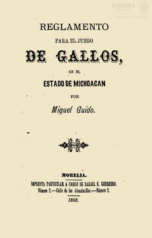 Imagen de Reglamento para el juego de gallos en el estado de Michoacán