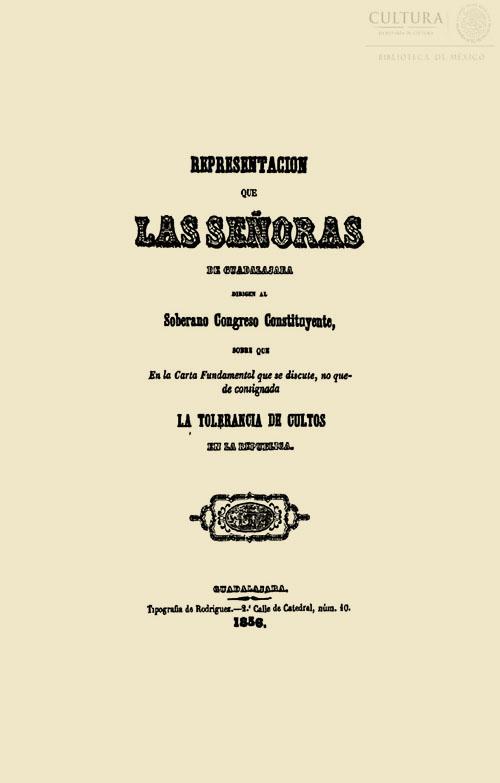 Imagen de Representación que las señoras de Guadalajara dirigen al Soberano Congreso Constituyente