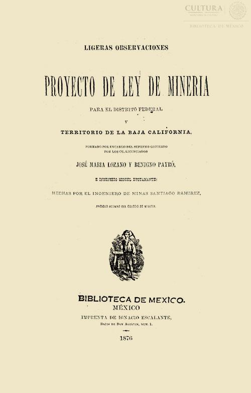 Imagen de Ligeras observaciones al proyecto de ley de minería para el Distrito Federal territorio de la Baja California