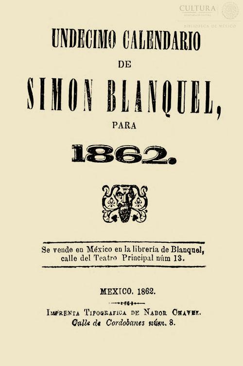 Imagen de Undécimo calendario de Simón Blanquel para 1862