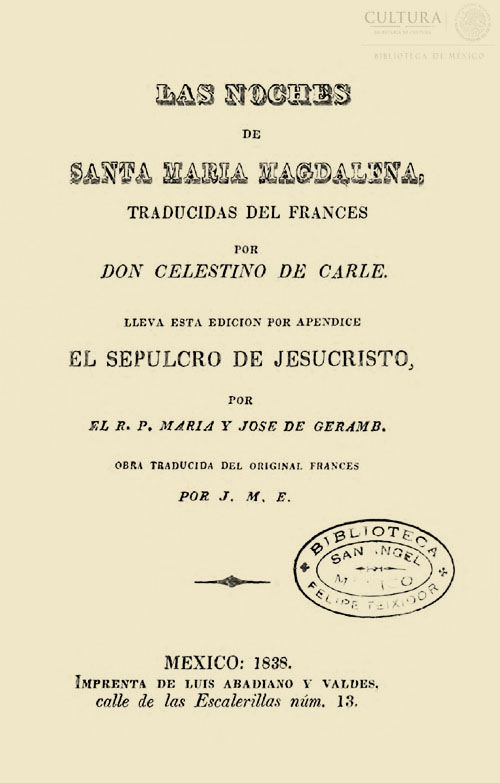 Imagen de Las noches de Santa Maria Magdalena / por Don Celestino de Carle; lleva esta edición el Sepulcro de Jesucristo / por el R. P. María y José de Geramb
