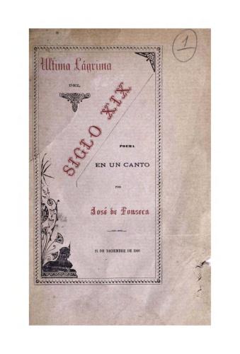 Imagen de Útima lágrima del Siglo XIX. Folleto poema en un canto José de Fonseca