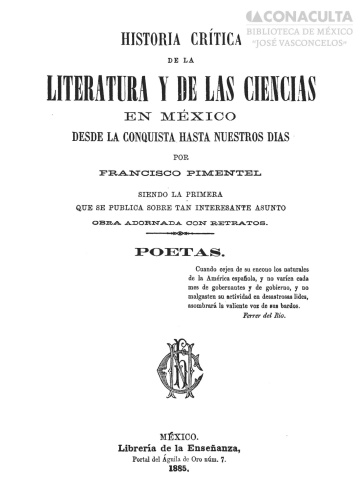 Imagen de Historia crítica de la literatura y de las ciencias en México desde la conquista hasta nuestros días :
