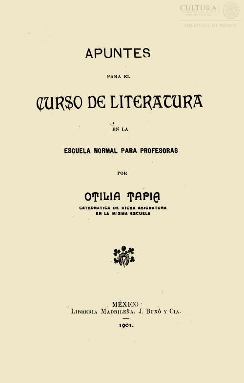 Imagen de Apuntes para el curso de literatura en la Escuela Normal para Profesoras