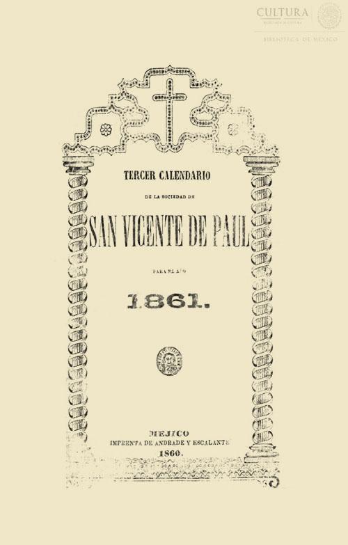 Imagen de Tercer calendario de la sociedad de San Vicente de Paul para el año 1861. Tomo 2