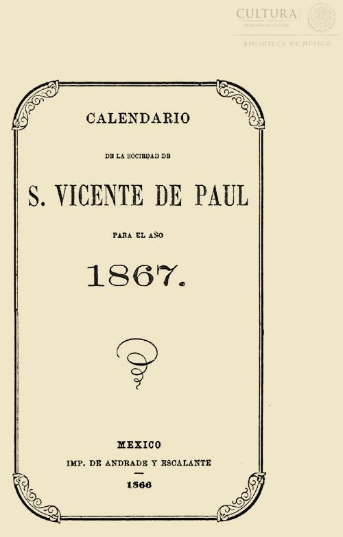 Imagen de Tercer calendario de la sociedad de San Vicente de Paul para el año 1861. Tomo 4