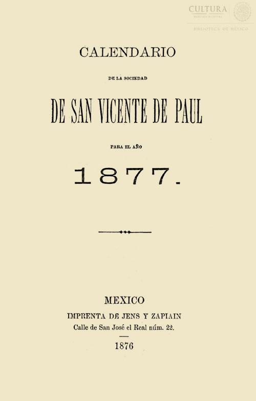 Imagen de Tercer calendario de la sociedad de San Vicente de Paul para el año 1861. Tomo 5