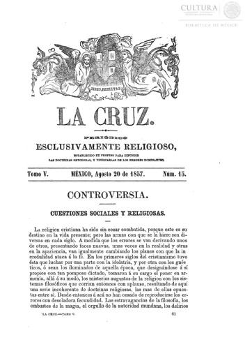 Imagen de La Cruz, periódico exclusivamente religioso, número 95