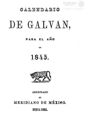 Imagen de Calendario de Galván, para el año de 1845 : Rivera.