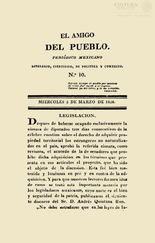 Imagen de El amigo del pueblo: periódico mexicano. Número 10