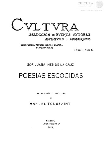 Imagen de Cvltvra :selección de bvenos avtores antigvos y modernos, Sor Juana Ines de la Cruz