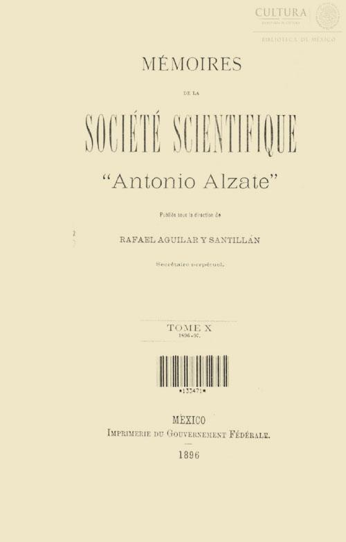 Imagen de Memorias de la Sociedad Científica Antonio Alzate. Tomo 10