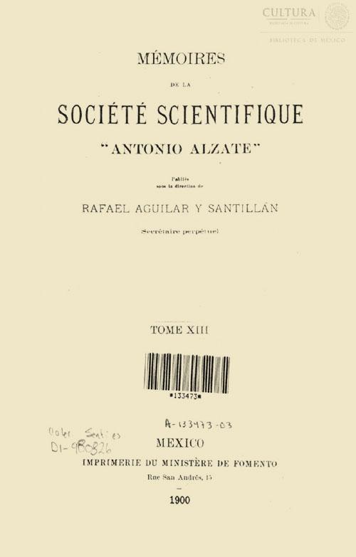 Imagen de Memorias de la Sociedad Científica Antonio Alzate. Tomo 13