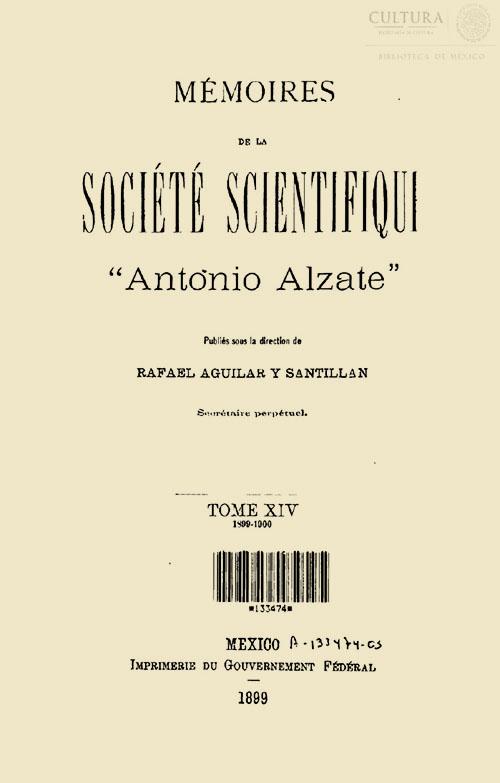 Imagen de Memorias de la Sociedad Científica Antonio Alzate. Tomo 14