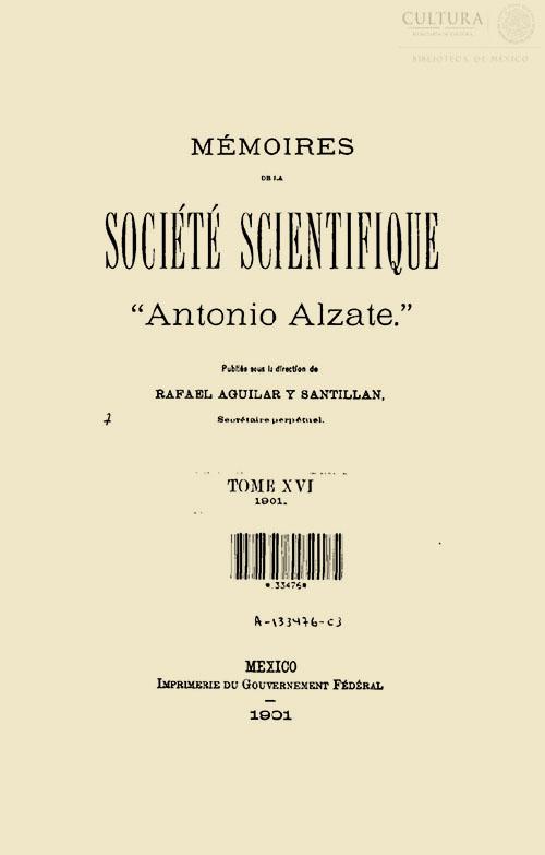 Imagen de Memorias de la Sociedad Científica Antonio Alzate. Tomo 16