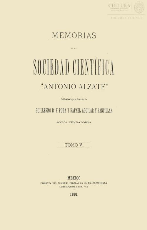 Imagen de Memorias de la Sociedad Científica Antonio Alzate. Tomo 5