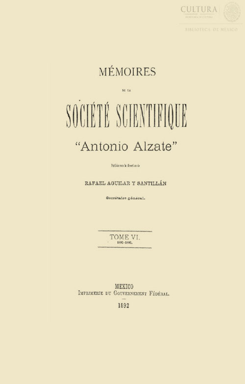 Imagen de Memorias de la Sociedad Científica Antonio Alzate. Tomo 6