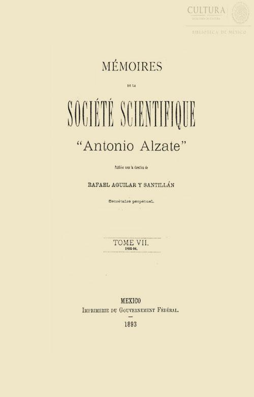 Imagen de Memorias de la Sociedad Científica Antonio Alzate. Tomo 7