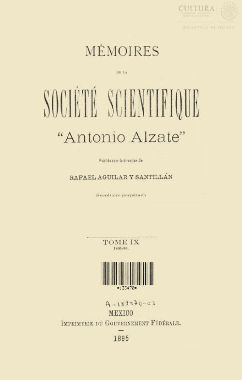 Imagen de Memorias de la Sociedad Científica Antonio Alzate. Tomo 9