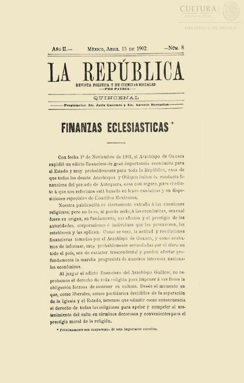 Imagen de La república: revista política y de ciencias sociales. Tomo 8