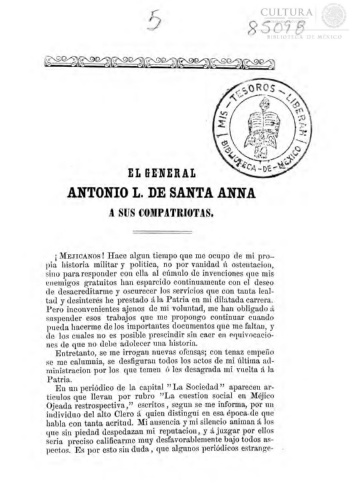 Imagen de EL General Antonio L. de Santa Anna a sus compatriotas [[folleto]]