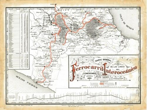Imagen de Carta general de las líneas del Ferrocarril Interoceánico y conexiones