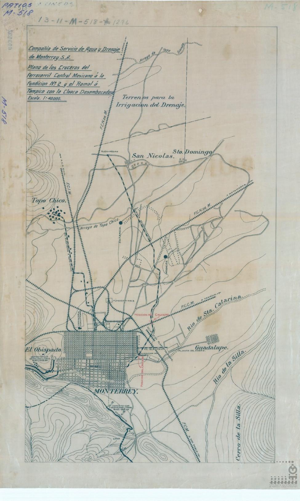 Imagen de Compañía de Agua y Drenaje de Monterrey, S. A. Plano de los cruceros del Ferrocarril Central Mexicano a la fundición N°2 y el ramal a Tampico con la cloaca desembocadora.