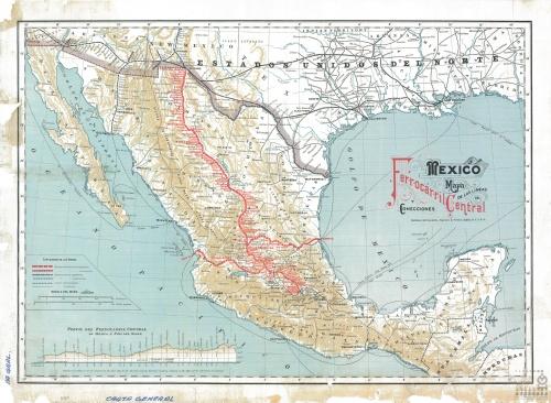Imagen de México. Mapa de las líneas del Ferrocarril Central y conexiones.