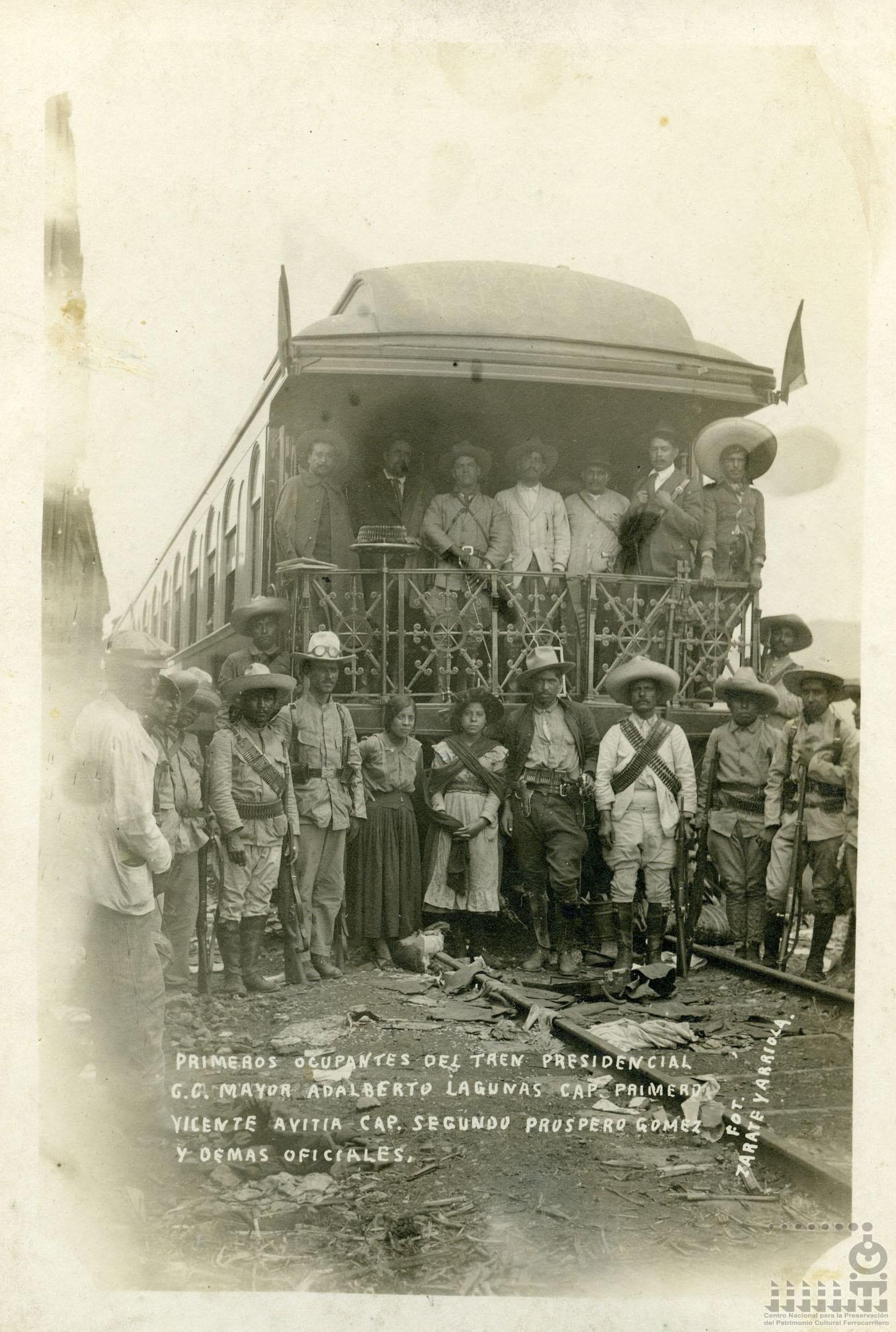 Imagen de Primeros ocupantes del tren presidencial durante su detención por las fuerzas obregonistas entre Rinconada y Aljibes