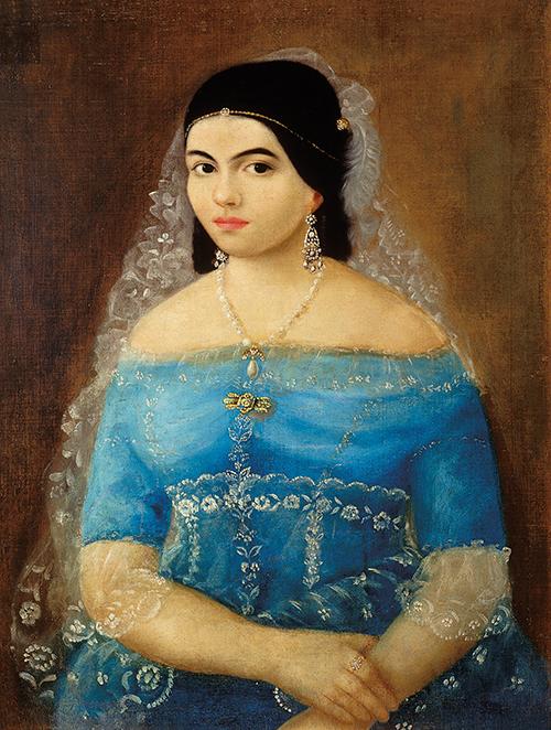 Imagen de Retrato de Mujer con Vestido azul