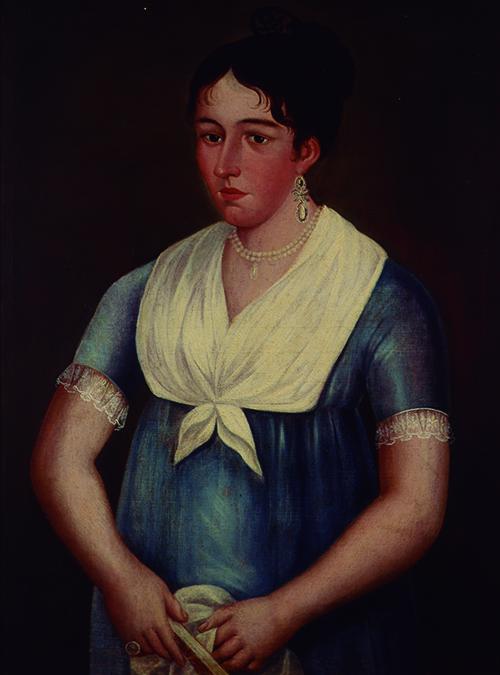 Imagen de Retrato de Mujer con abanico y Mascada en las Manos
