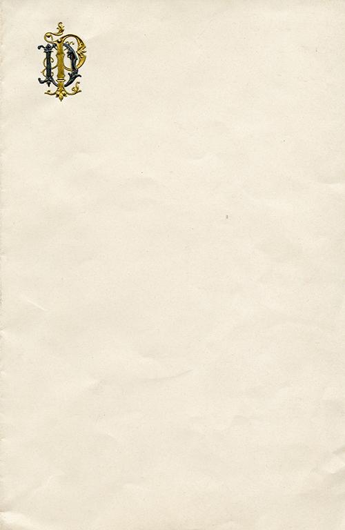 Imagen de Pliego de Papel Personal del Presidente Porfirio Díaz con Monograma P.D. en Oro y Plata