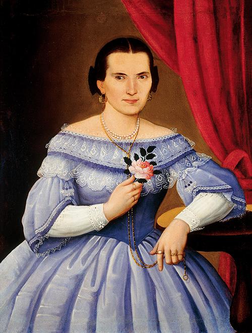Imagen de Retrato de Mujer con Flor en la Mano derecha
