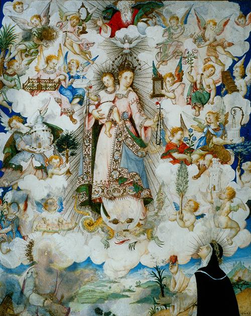 Imagen de La Virgen del Rosario con Santa Catalina de Alejandría y Santa Catalina